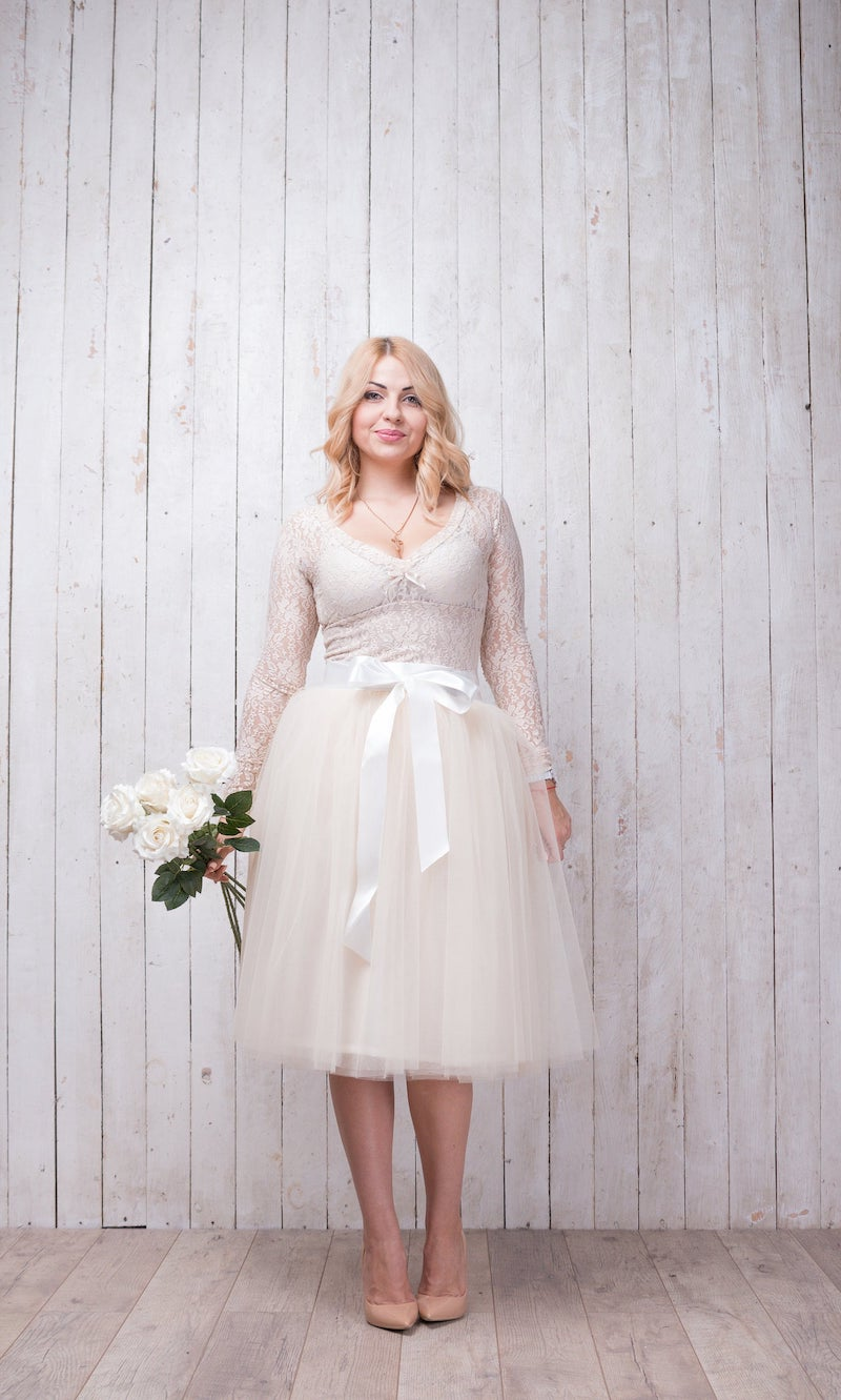 Short Plus Size Bridal Tulle Skirt