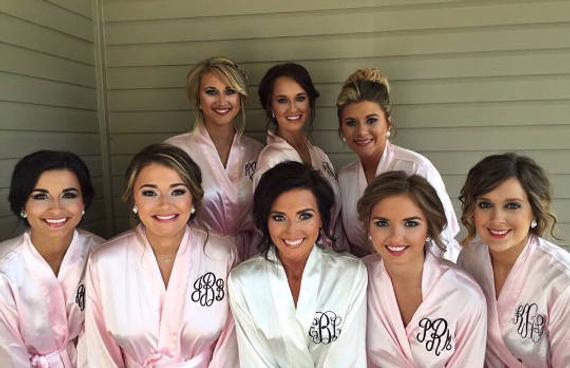 silk monogrammed wedding day bride and bridesmaid robes