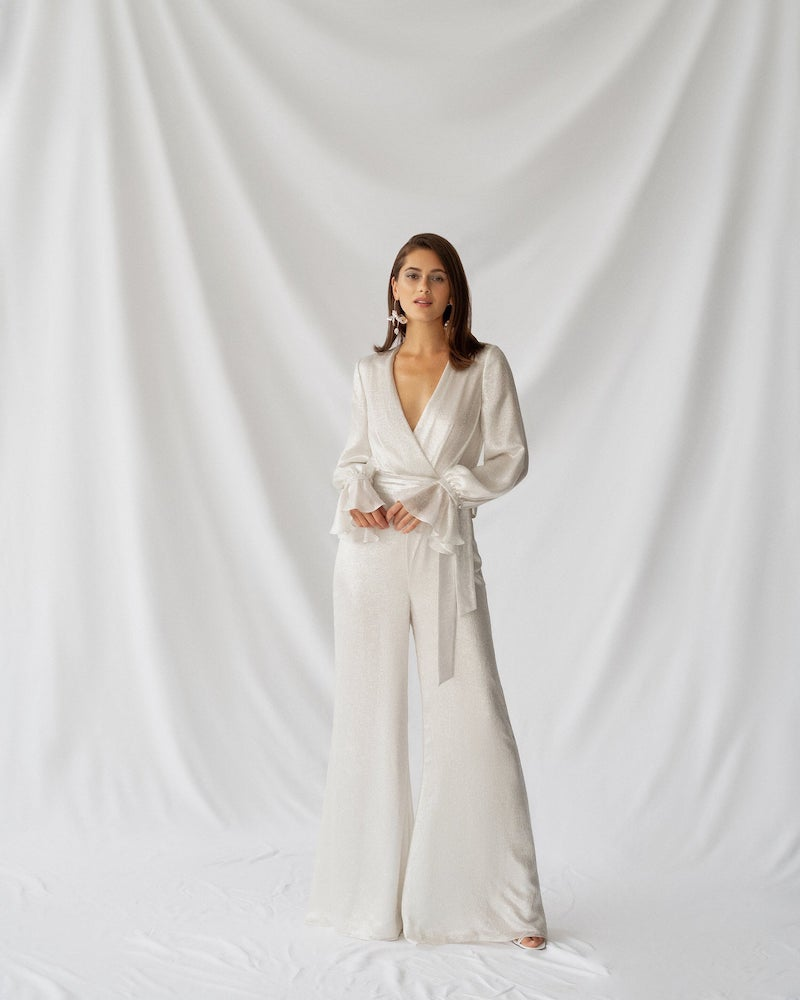 Silk Wide Leg Jumpsuit for Bride