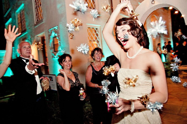 silver gold twinkle poms wedding exit toss idea