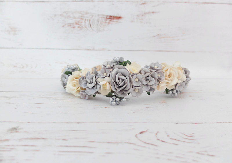 Silver Grey and Ivory Wedding Flower Crown