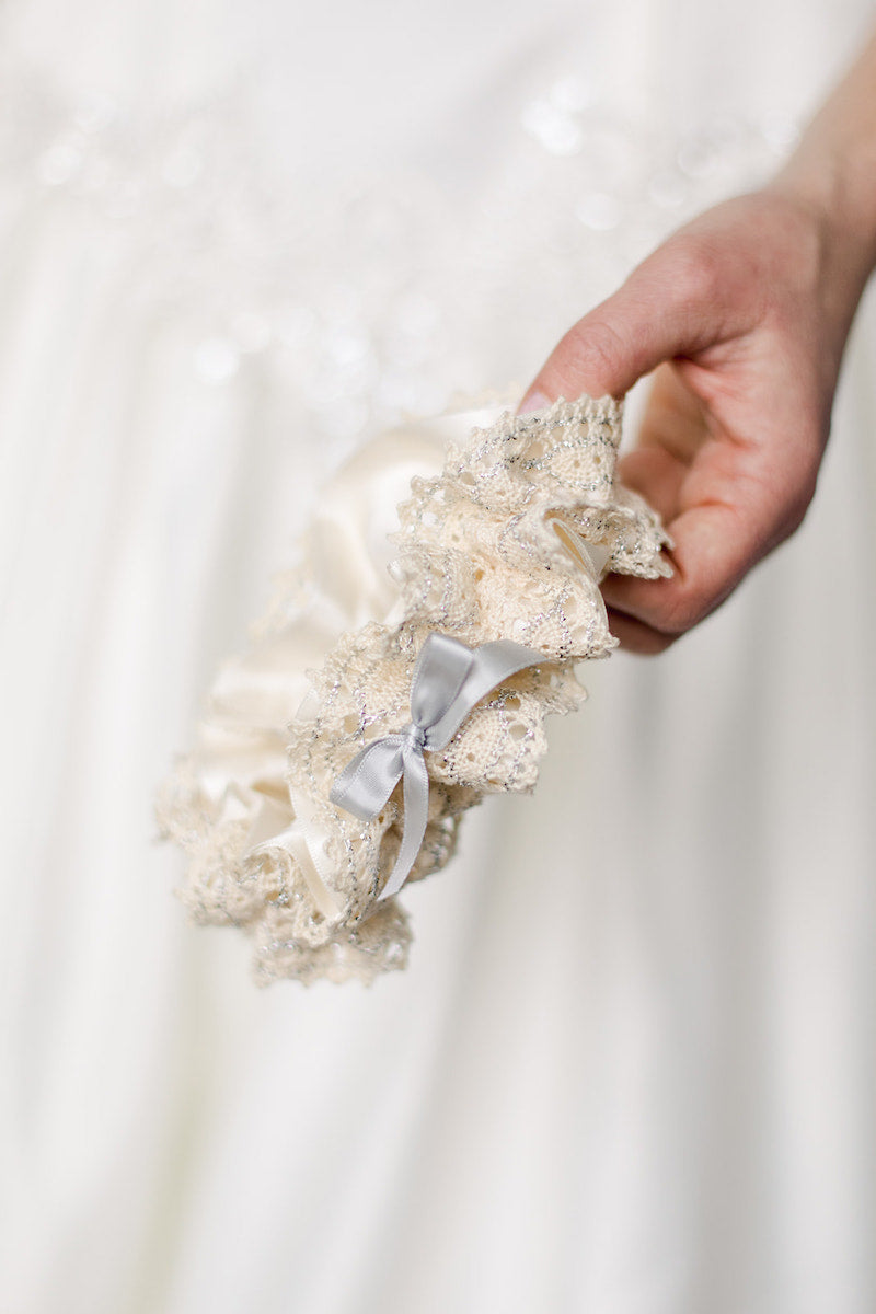 custom wedding garter with cotton lace and silver sparkle
