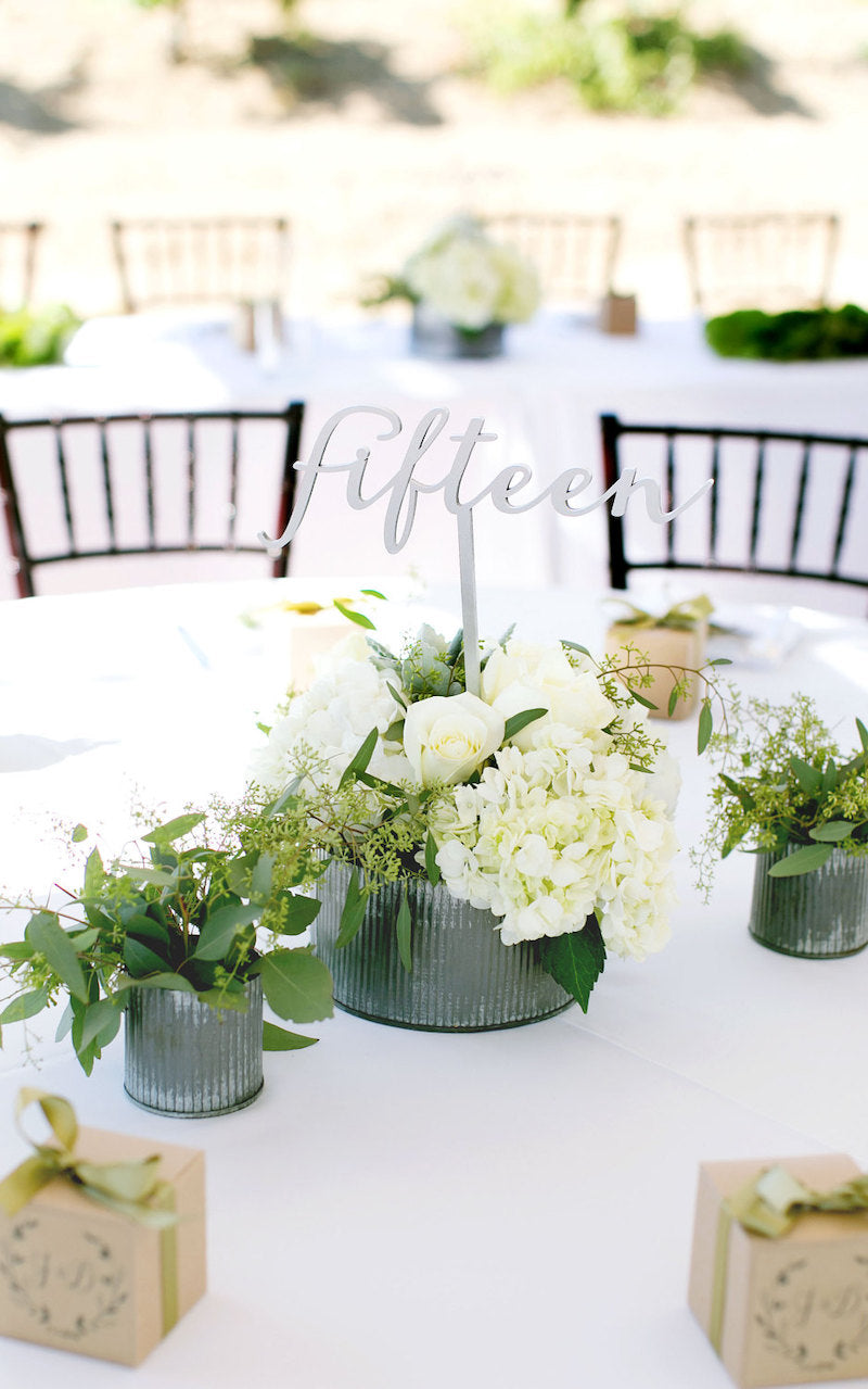 Silver Wedding Table Number Word Sign on Stick