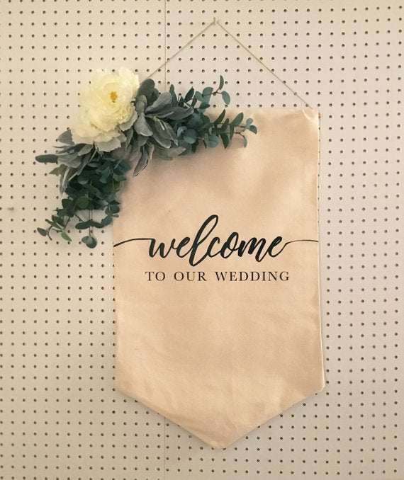 simple fabric wedding welcome sign