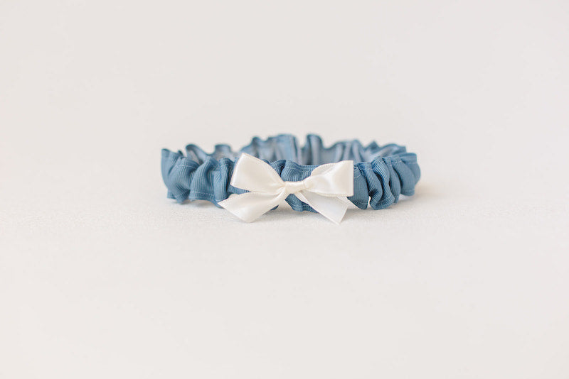 simple something blue garter with personalized embroidery