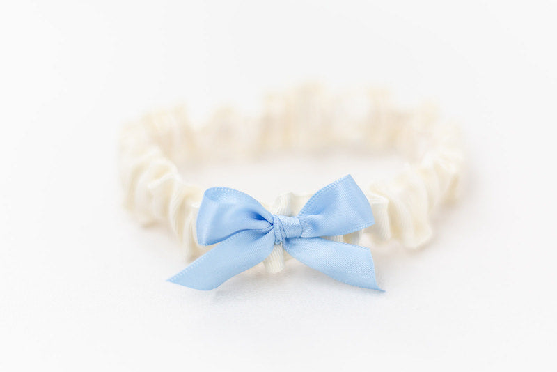 simple something blue wedding garter