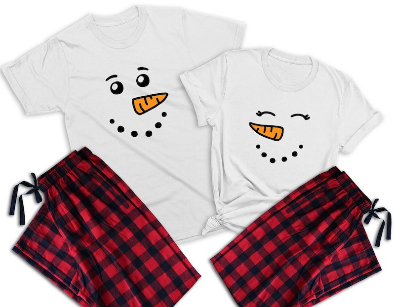 Snowman Face Matching Holiday Pajamas for Couple