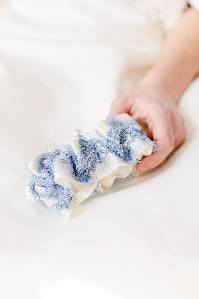 custom wedding garter with blue lace and ivory satin
