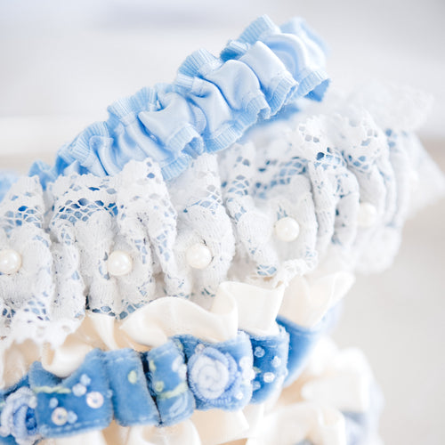 custom something blue wedding garters by The Garter Girl