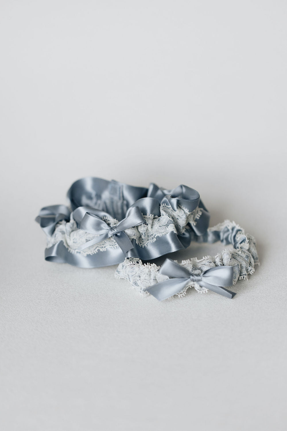 wedding garter set with blue and lace personalized by The Garter Girl