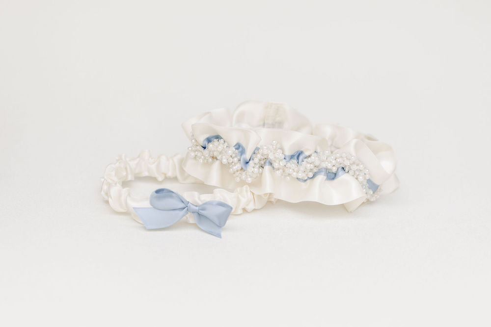 couture wedding garter set heirloom with sparkles, pearls and dusty blue handmade heirloom by The Garter Girl