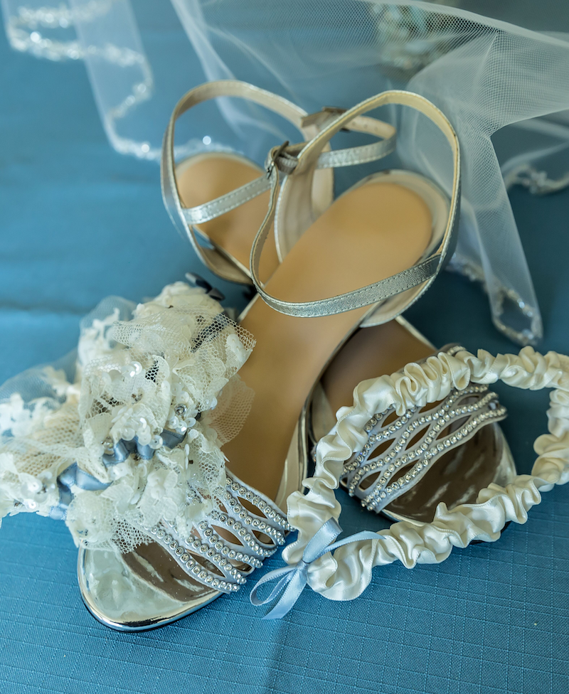 Sparkle Wedding Dress Lace Garter with Blue Bow