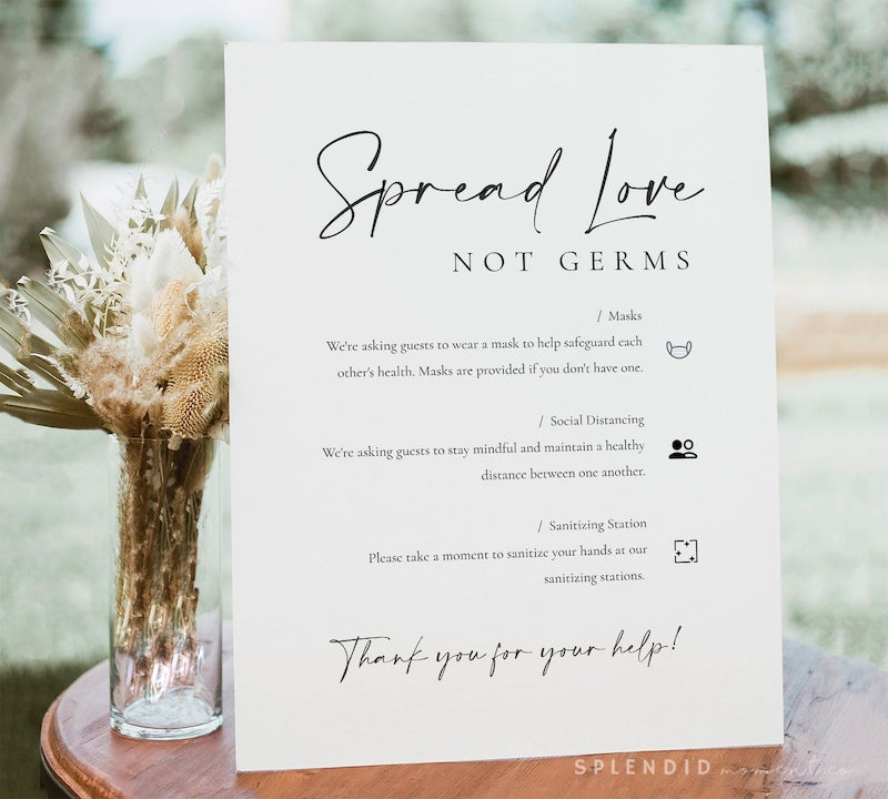 Spread Love Not Germs Wedding Safety Sign