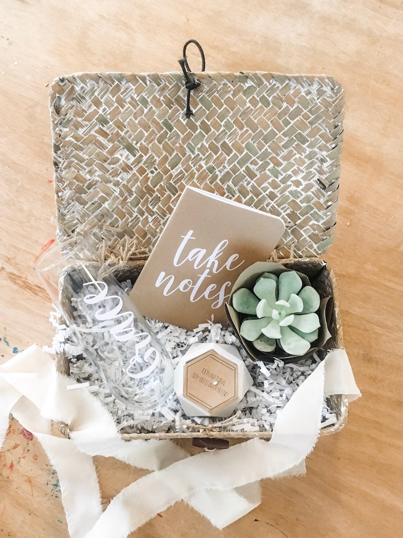 Succulent and Champagne Glass Bridesmaid Proposal Gift Basket