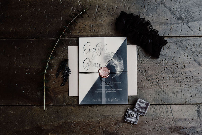Swan Lake Wedding Invitation Suite and Wedding Garter