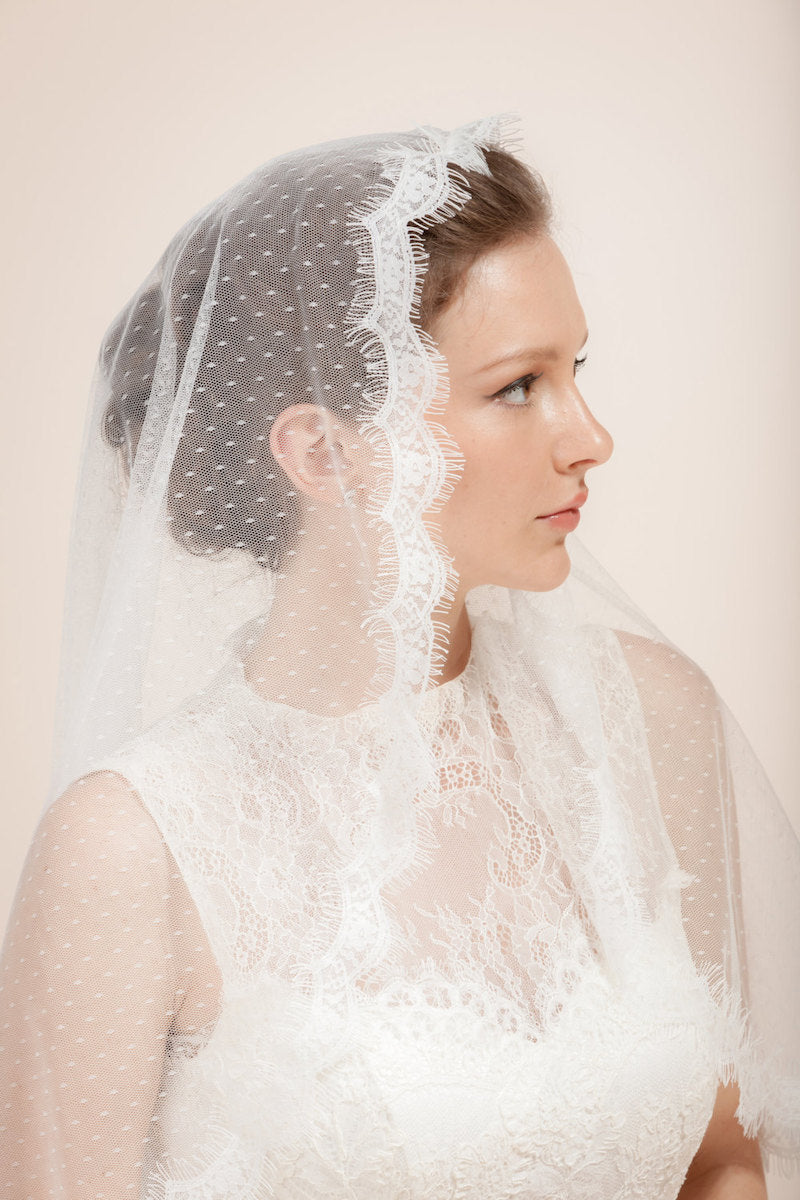 Swiss Dot Lace Trim Elbow Length Veil