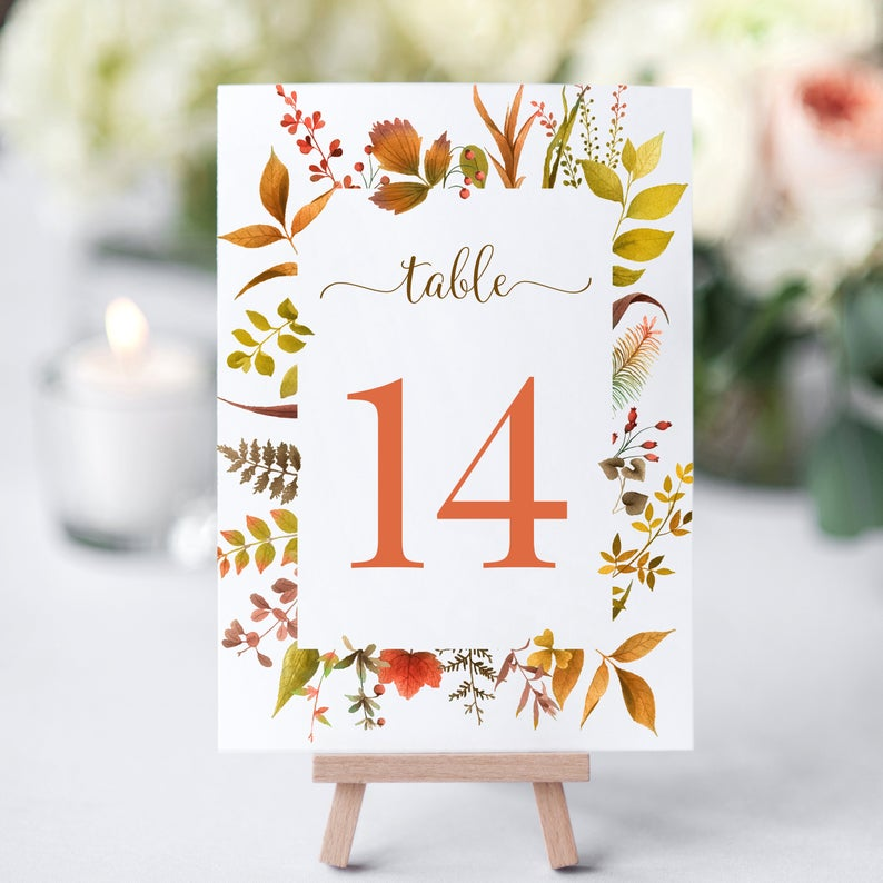 Fall Themed Table Number Signs