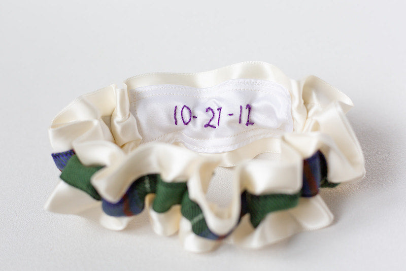 tartan plaid custom bridal garter with personalized patch made from sisters wedding dress