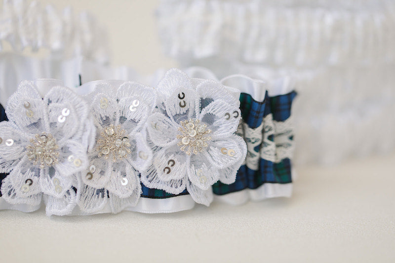 custom tartan plaid wedding garter set