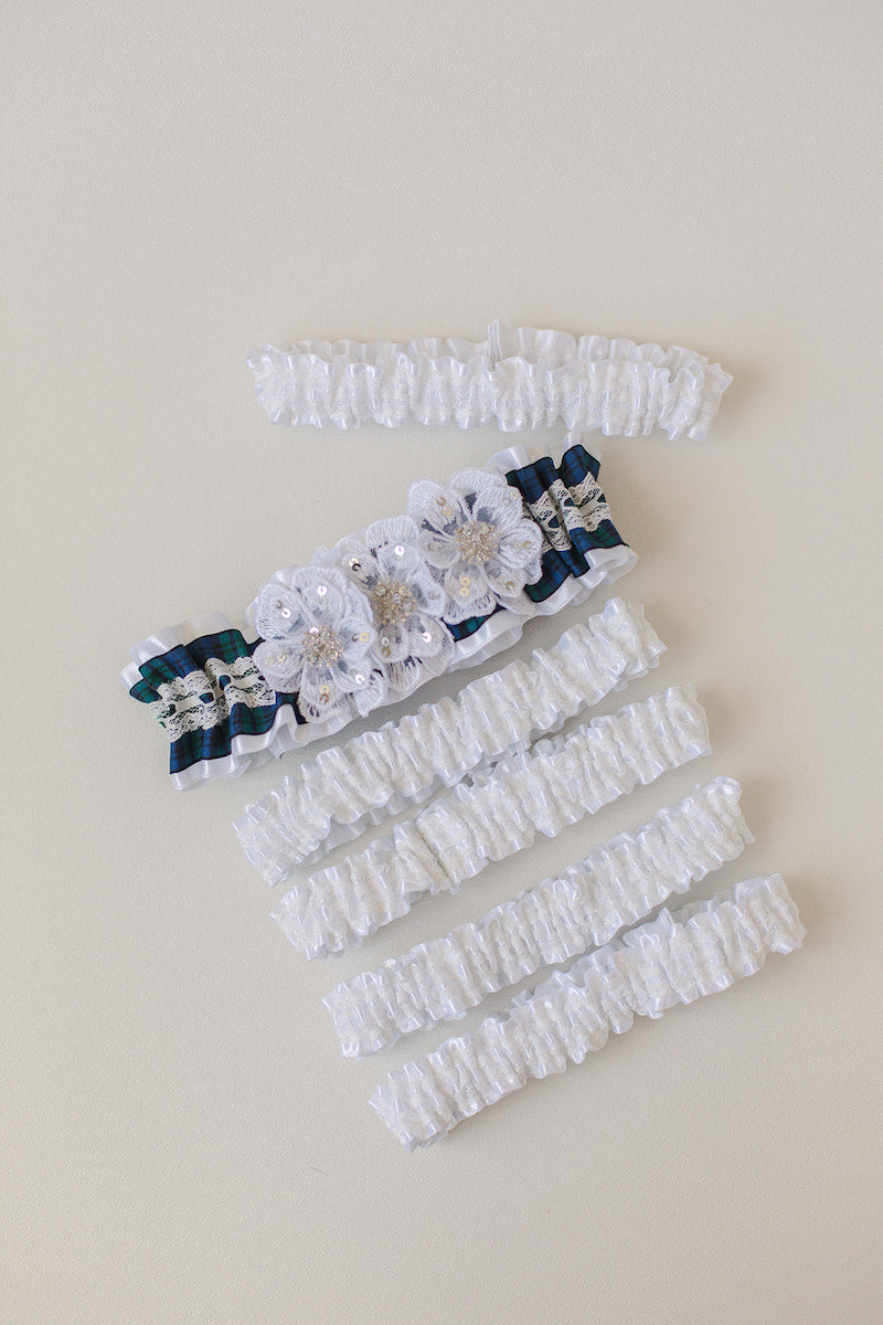 custom tartan plaid wedding garter set for bridesmaids