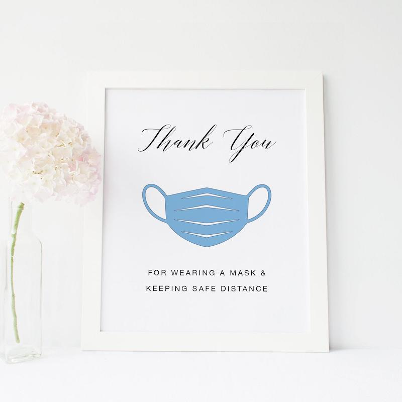 Thank You For Wearing Your Mask Wedding Sign
