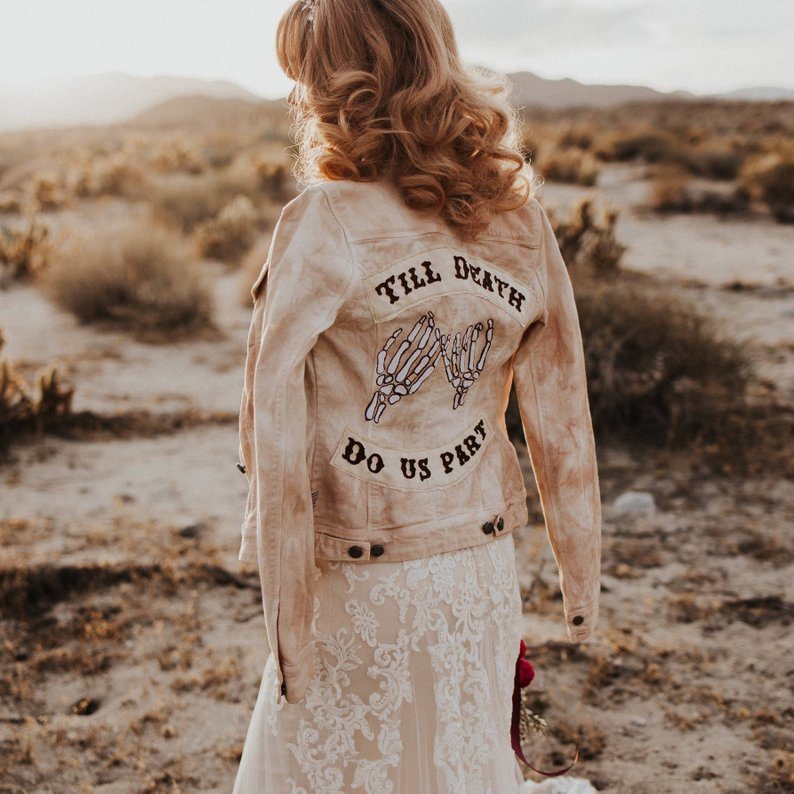 til death do us part bridal denim jean jacket