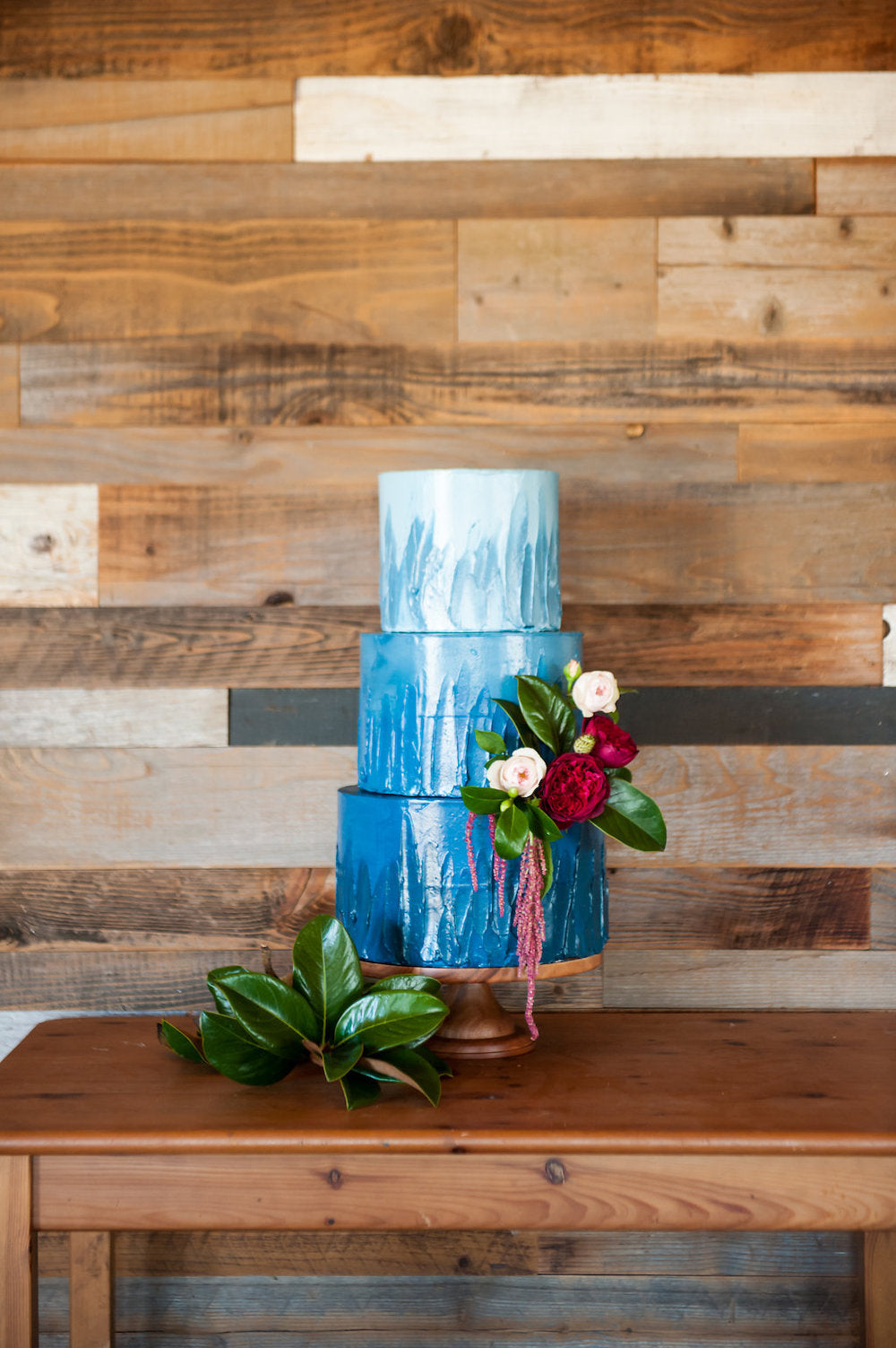 blue ombre wedding cake - tips for working from home and planning wedding from The Garter Girl