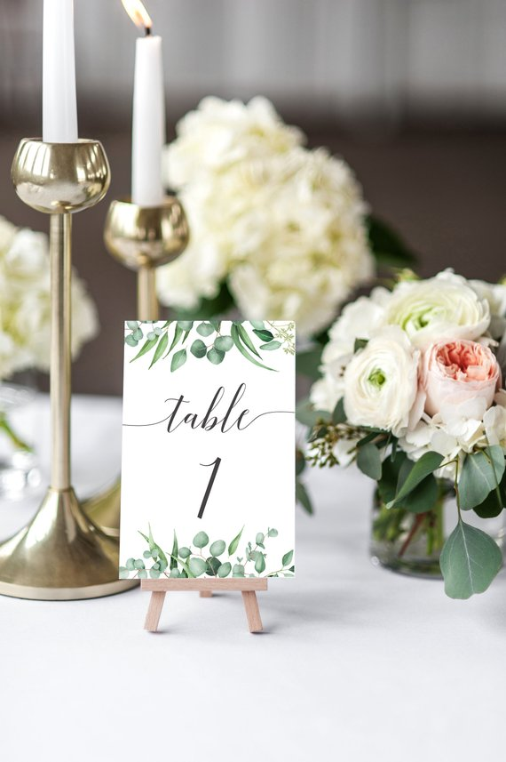 traditional floral wedding day table number sign