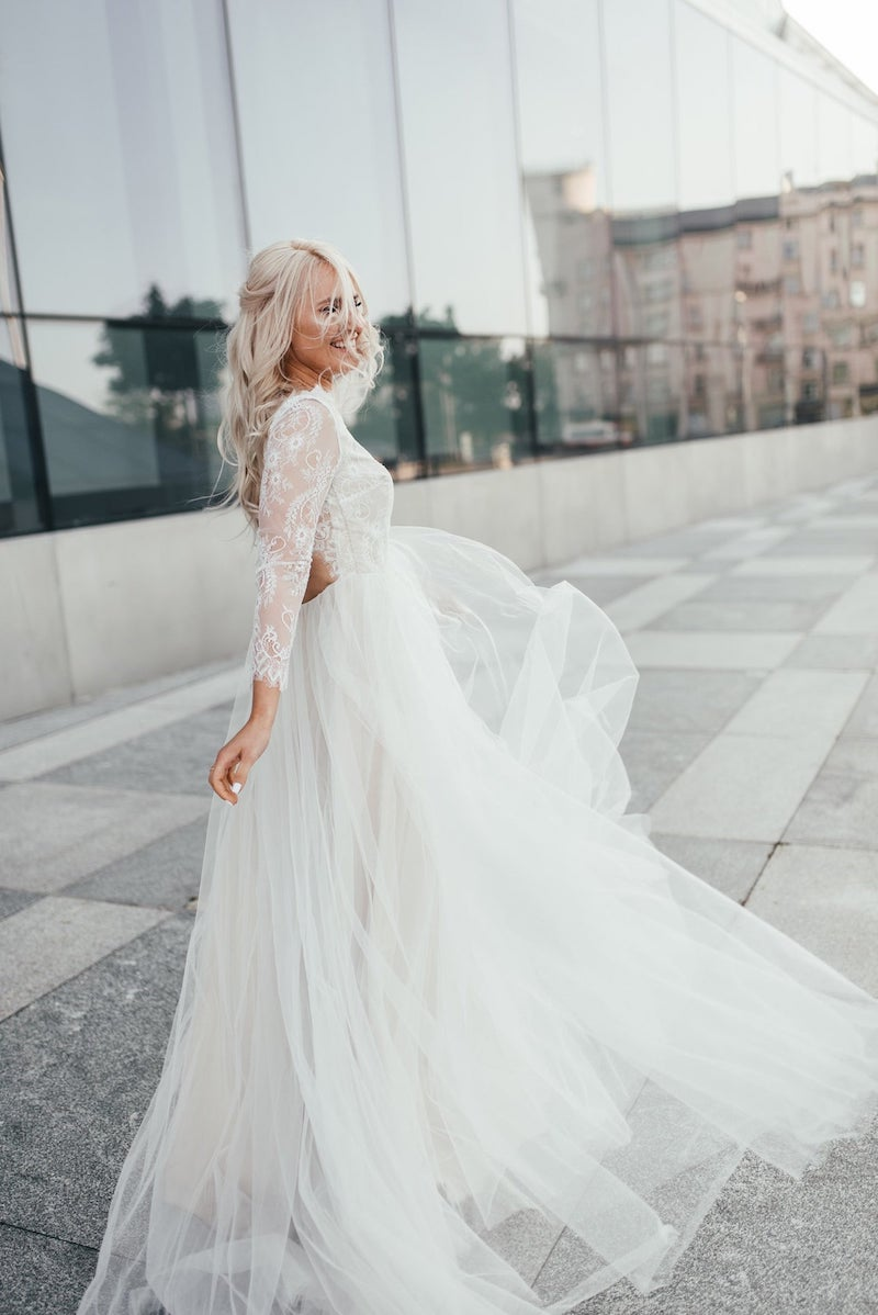 Tulle and Lace Sleeve Wedding Dress