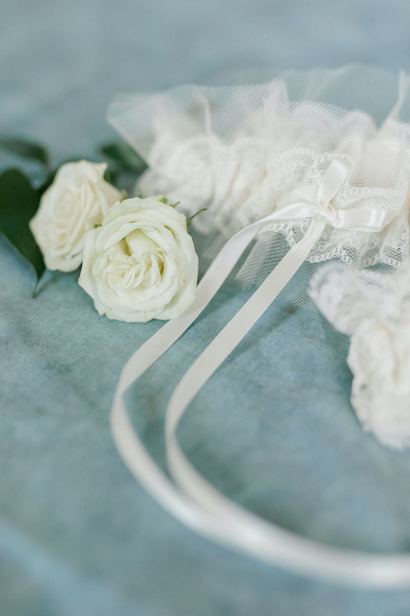 Tulle Bridal Garter for Bride with Long Bow
