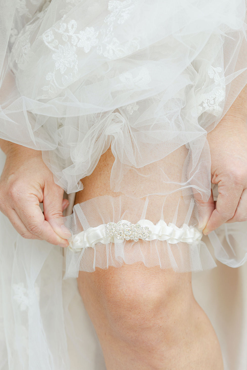 couture wedding garter heirloom with tulle and sparkle handmade by The Garter Girl