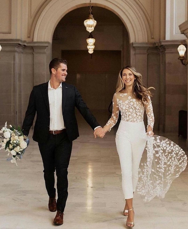 Tulle Top Bridal Jumpsuit with Train