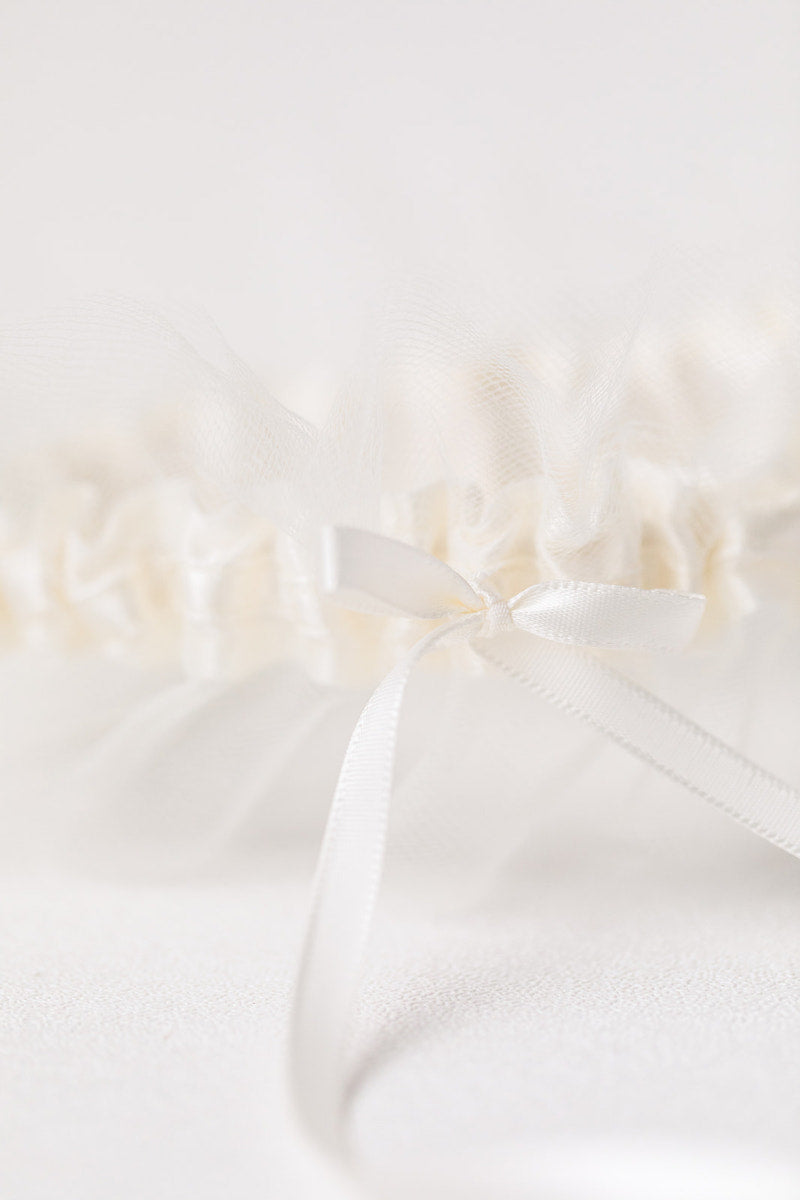 custom wedding garter with ivory satin and tulle