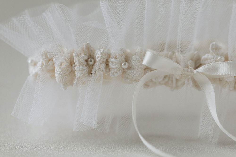 tulle wedding garter handmade from bride's mother's wedding dress with lace and pearls by heirloom expert, The Garter Girl