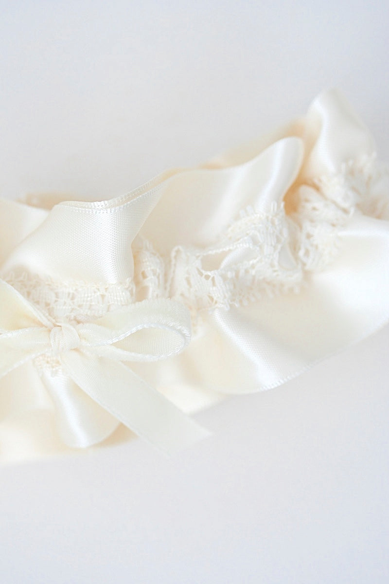 ivory velvet and lace wedding garter