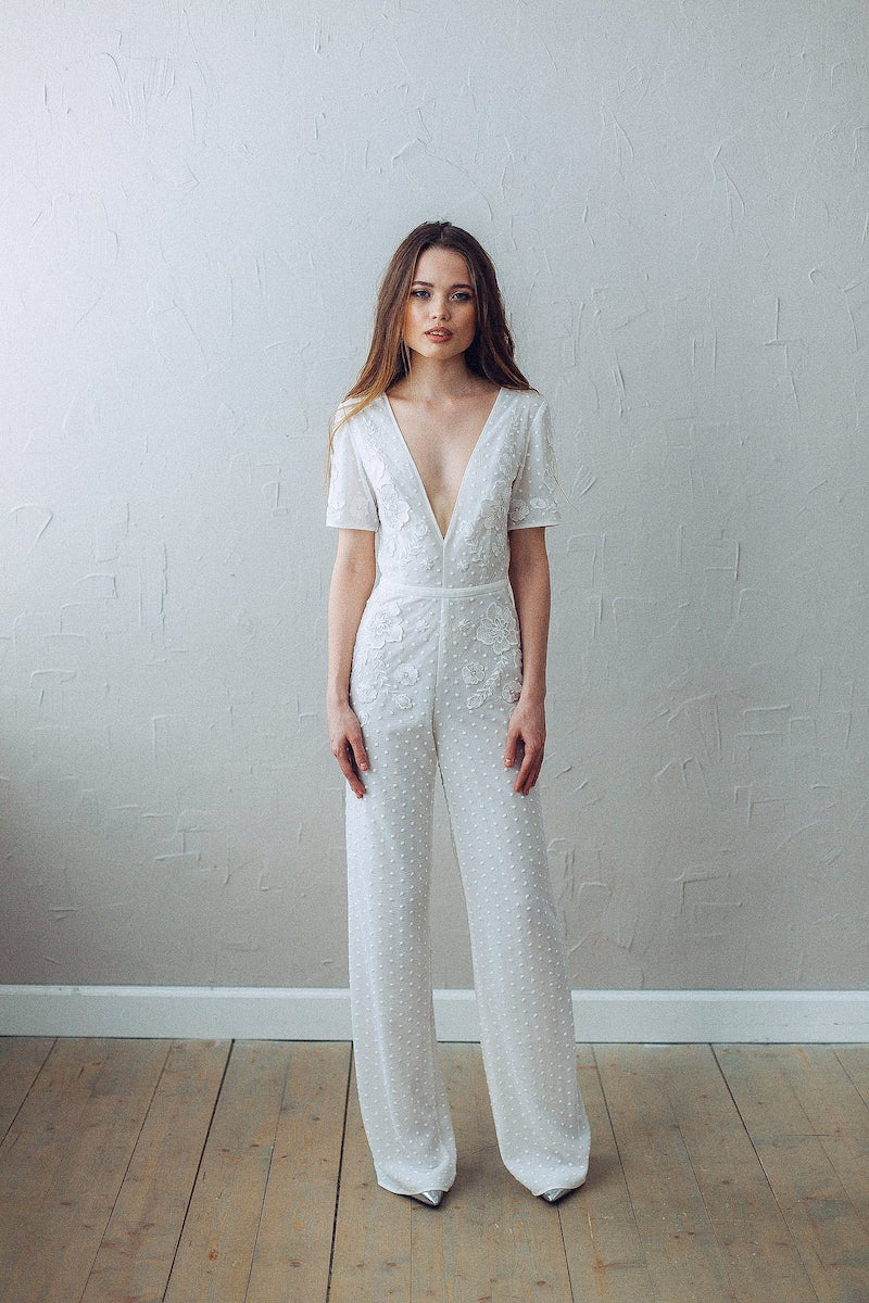 Vintage and Boho Wedding Jumpsuit with Sleeves