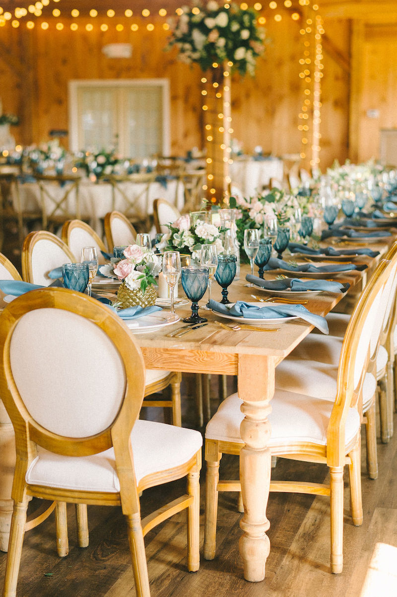 Vintage Blue Glass Table Settings Barn Wedding