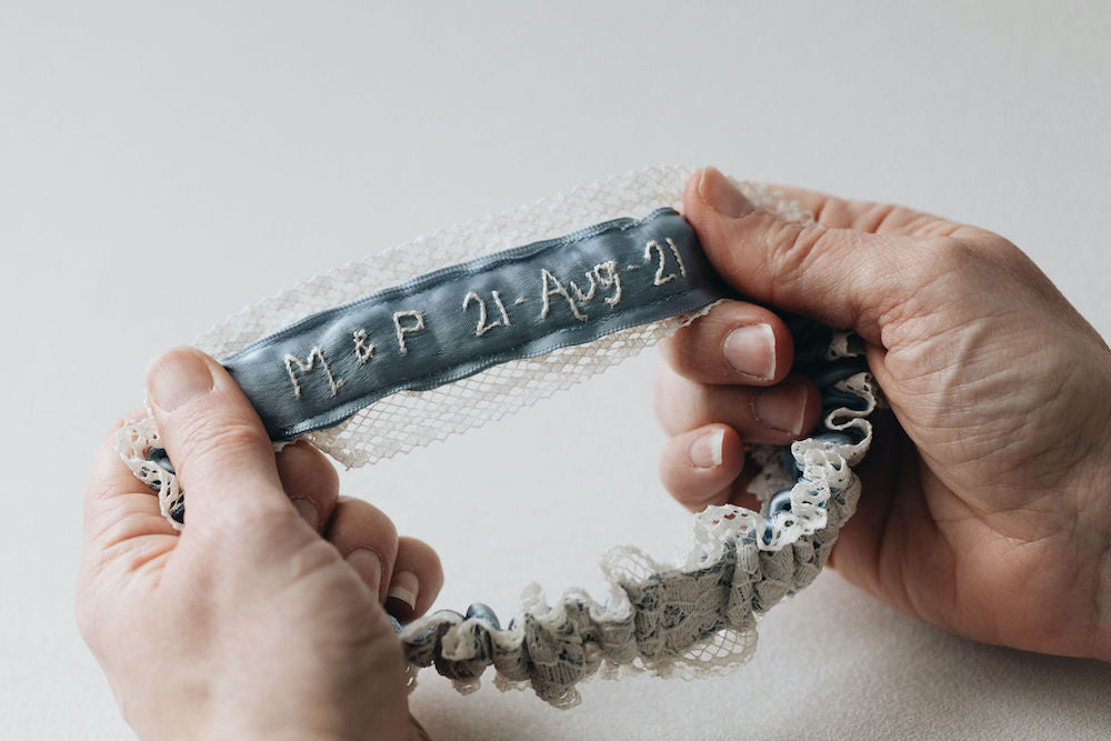 vintage wedding dress lace bridal garter with pearls, personalized with couple's initials and wedding day - handmade bridal accessories by The Garter Girl