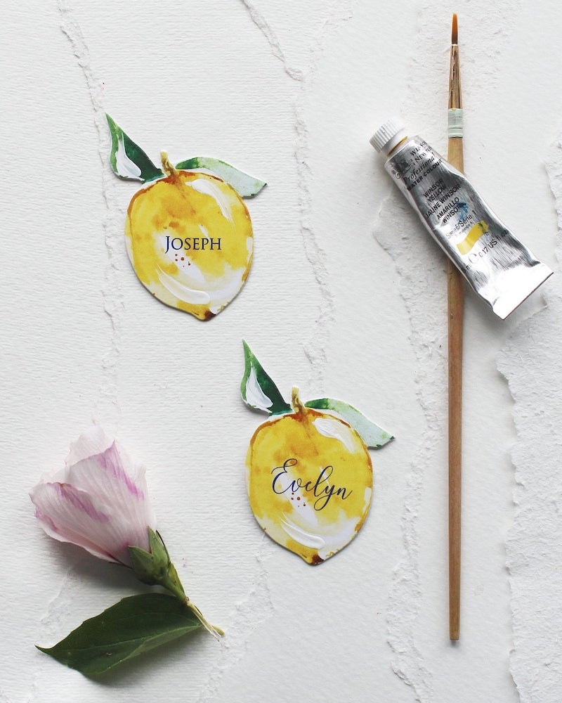 Watercolor Citrus Escort Cards