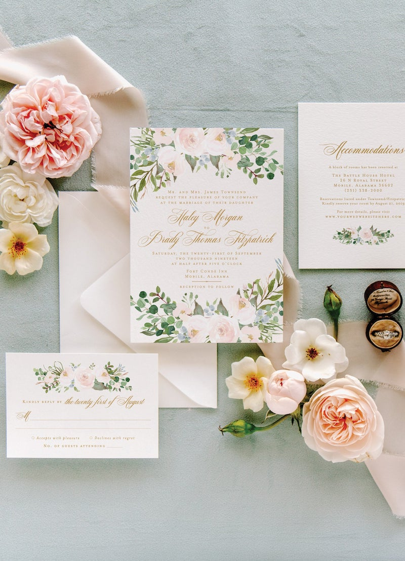 Watercolor Floral Invitation Suite