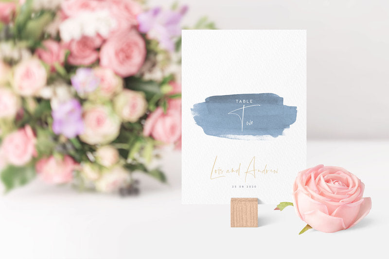 Watercolor Wedding Table Number Sign with Personalized Names and Date