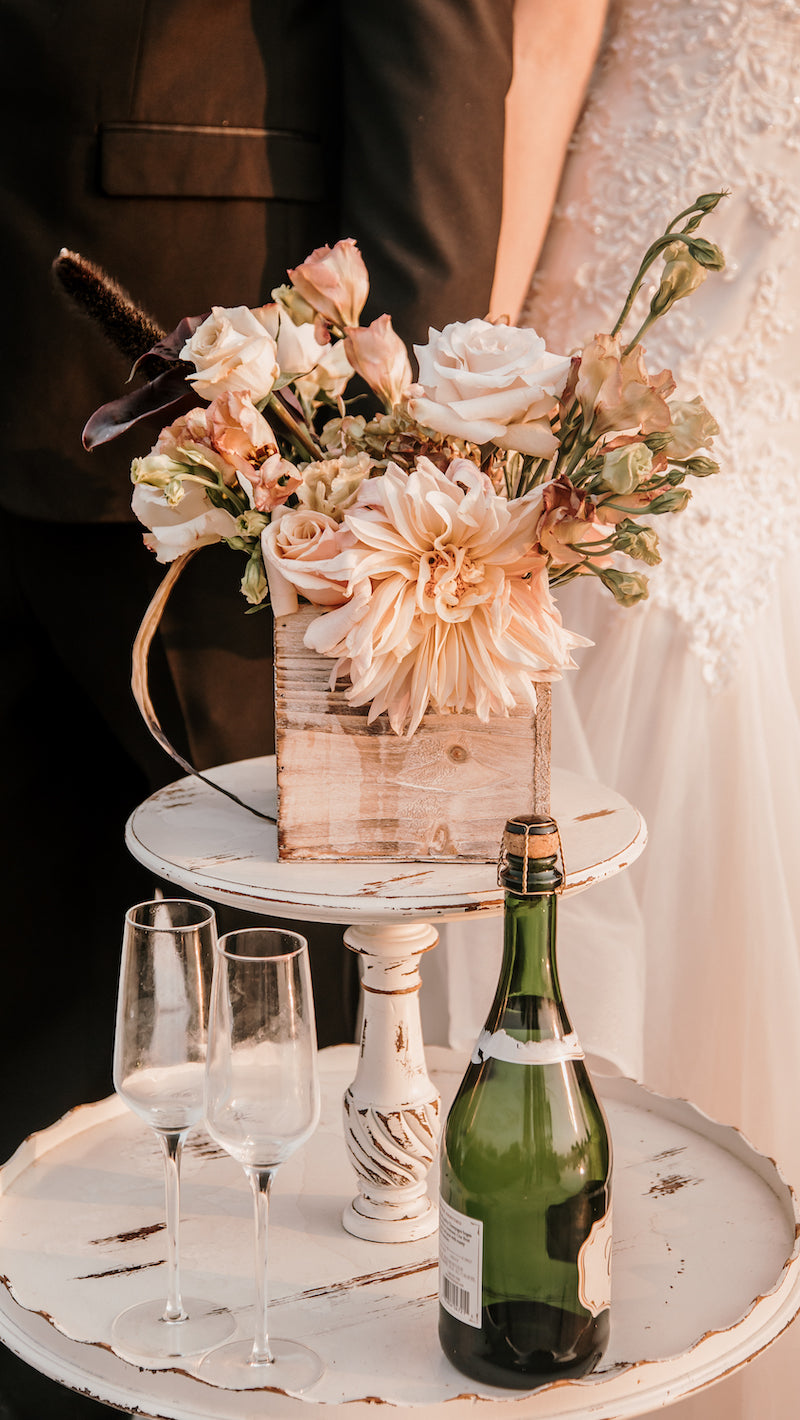 Wedding Champagne Flutes and Flowers