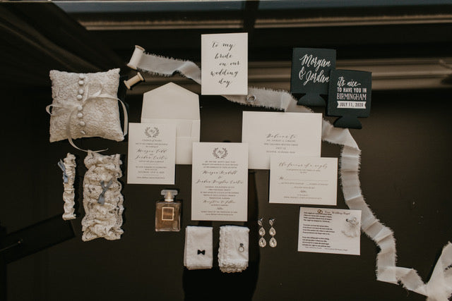 Wedding Day Details with Wedding Invitations Wedding Garter and More