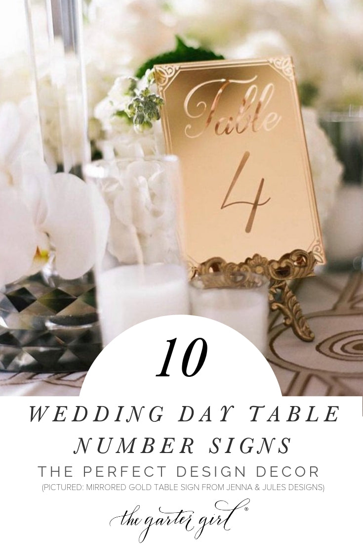 wedding day table number signs