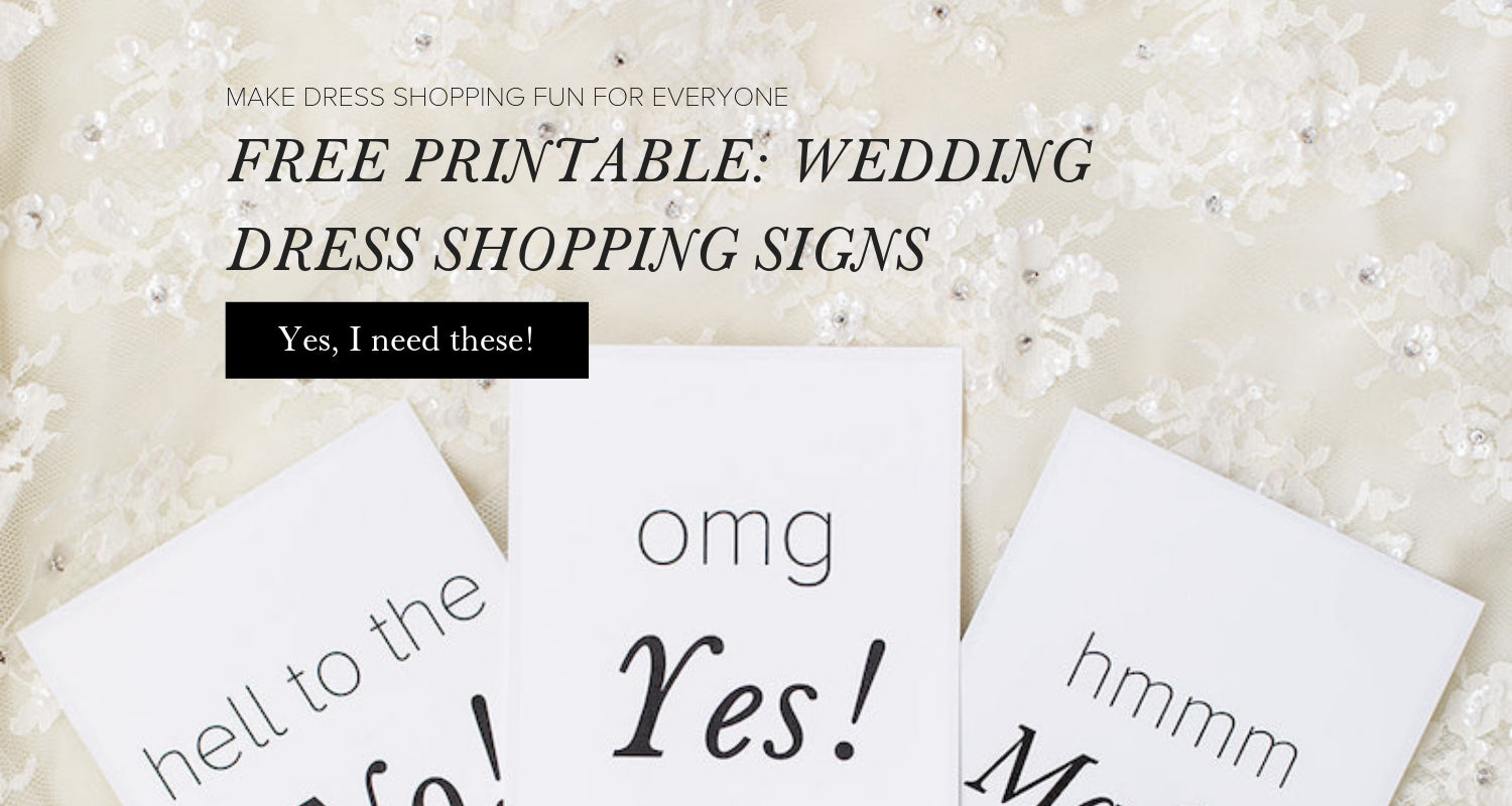 wedding dress shopping cards printable