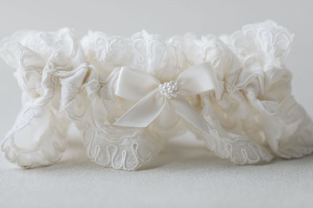 custom wedding garter set handmade from bride's mother's wedding dress w lace and pearls by The Garter Girl