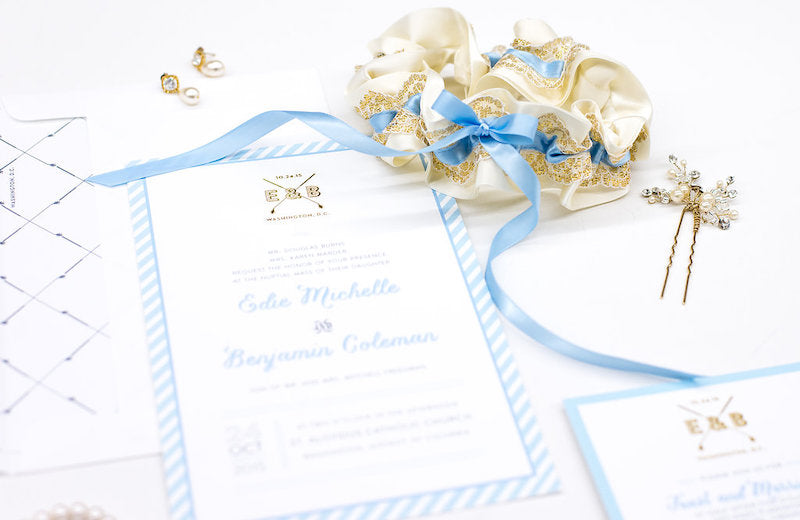 Blue, Ivory and Gold Wedding Garter - Time Saving Wedding Planning Tips