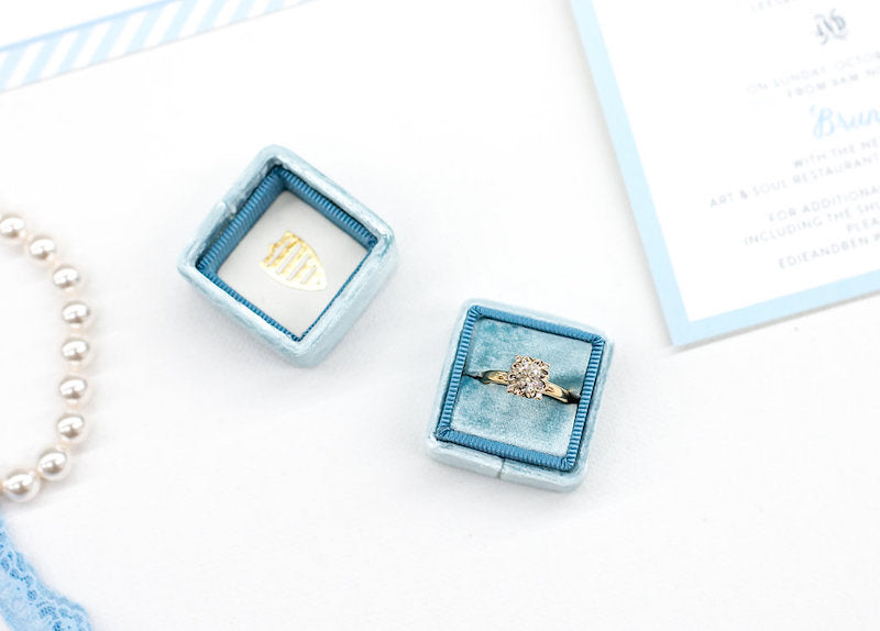 Turquoise Velvet Ring Box - Time Saving Tips for Wedding Planning