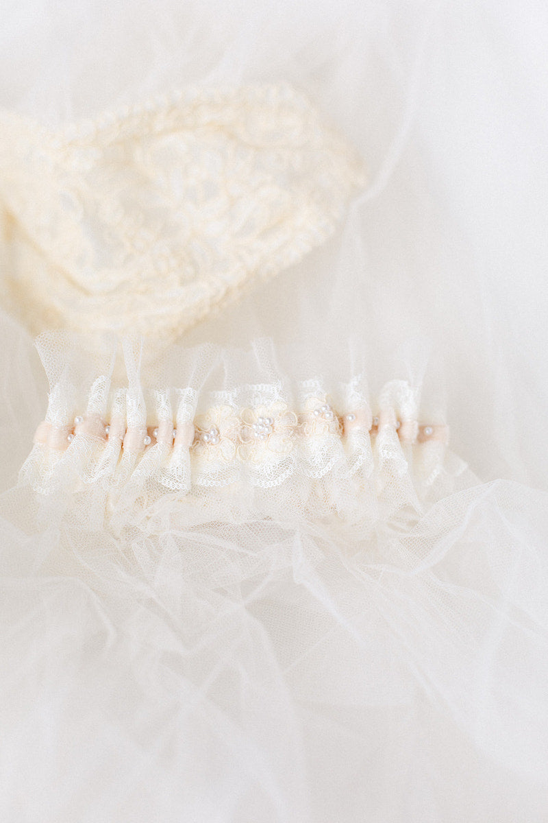 personalized garter made from mother's wedding dress and grandmother's veil