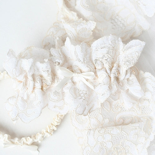 wedding garter made from the bride's mother's wedding dress by The Garter Girl